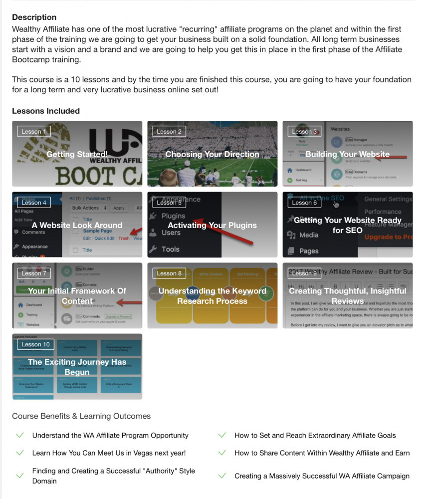The free bootcamp at Wealthy Affiliate
