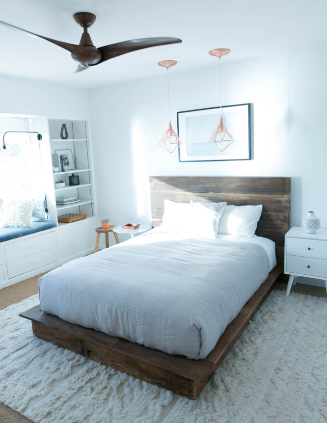 Stained reclaimed furniture for white bedroom
