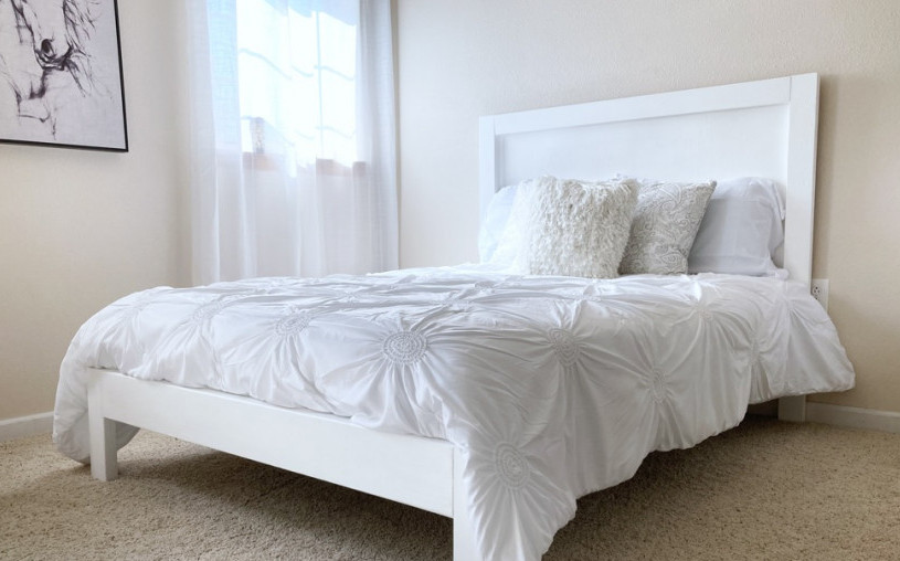 White Platform Bed: Super Simple DIY bed frame tutorial by Ana White