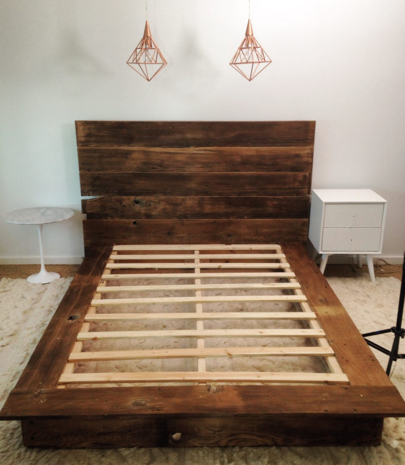 Wood platform bed frames made from reclaimed wood