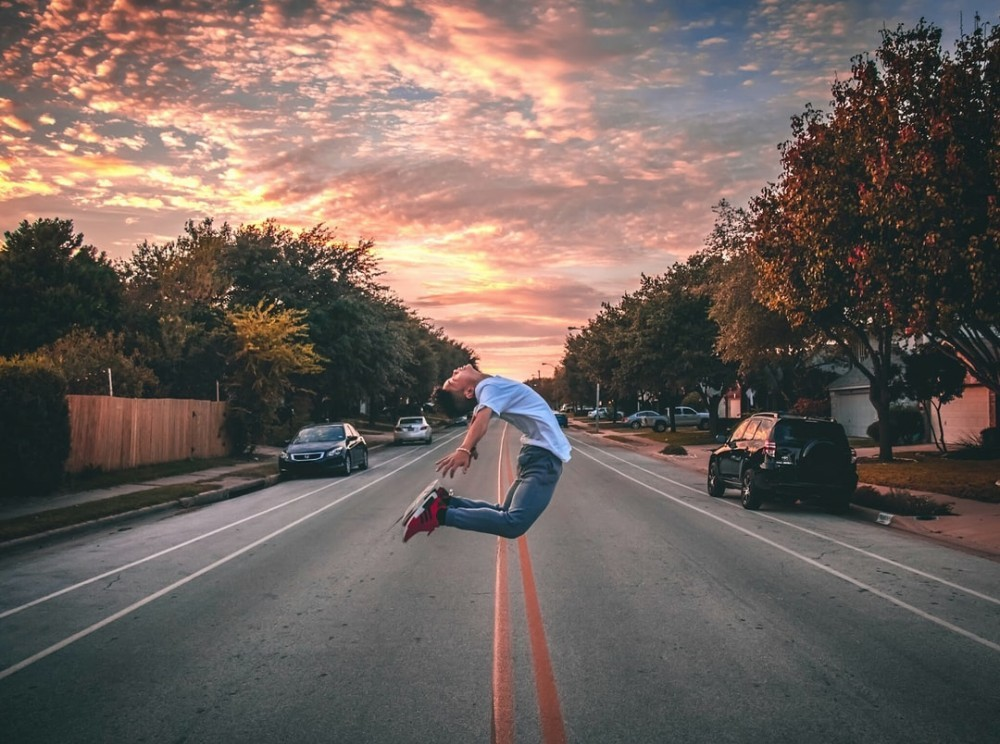 jumping in the street