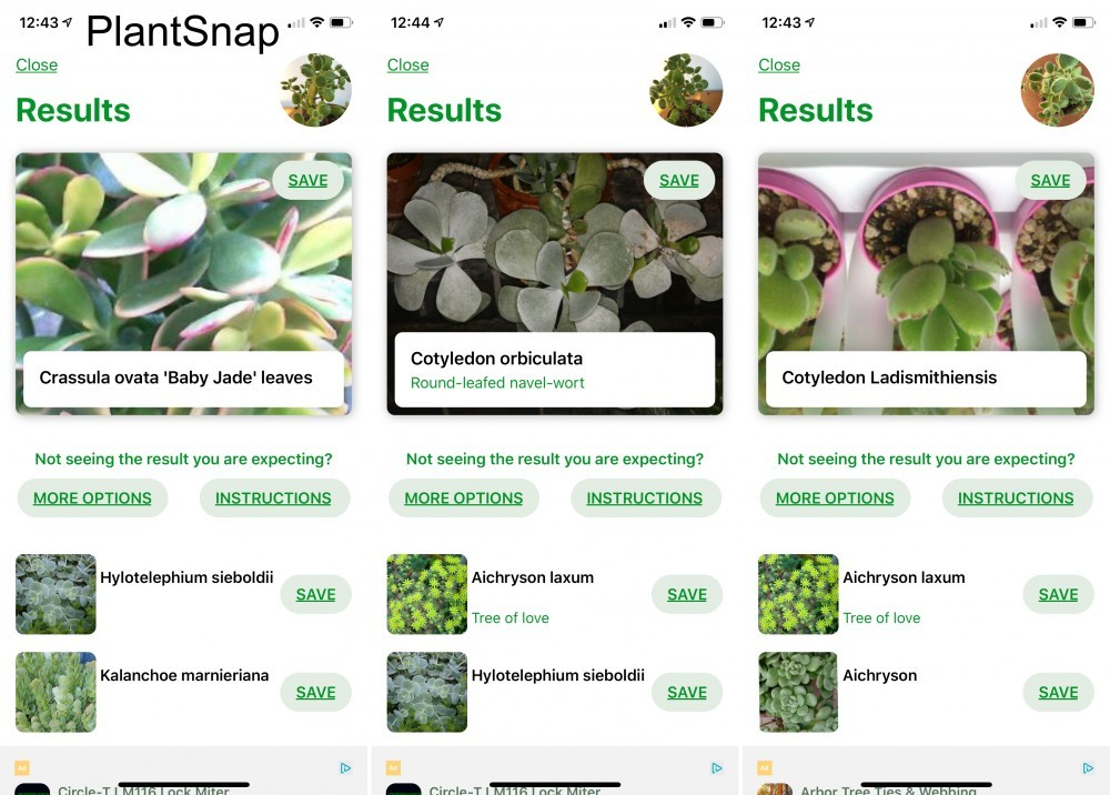 PlantSnap screen shots