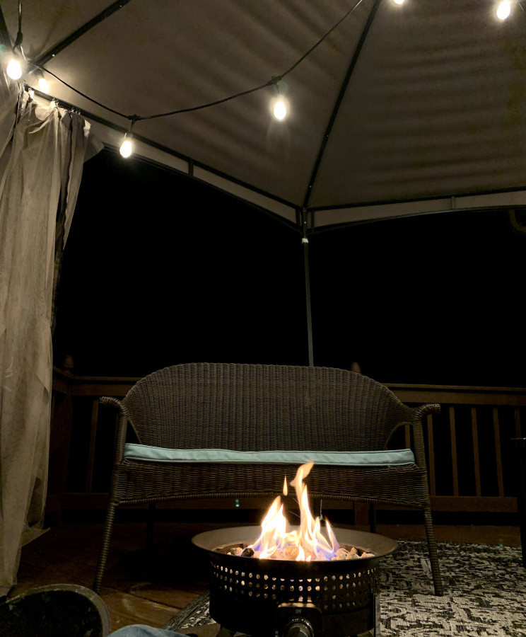 Portable Fire Pit on a Deck