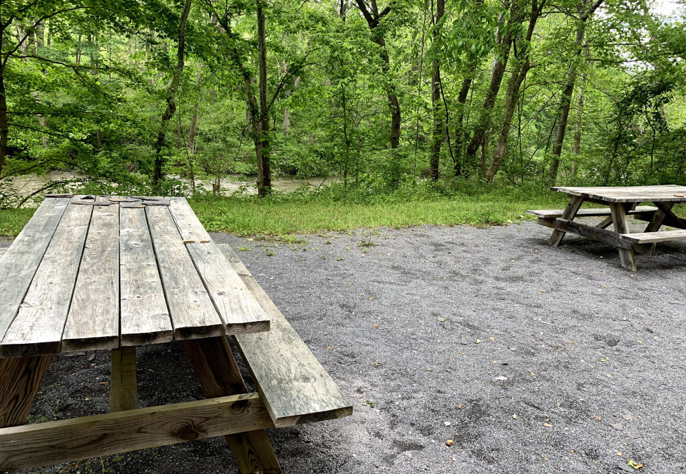 picnic tables on Jackson River