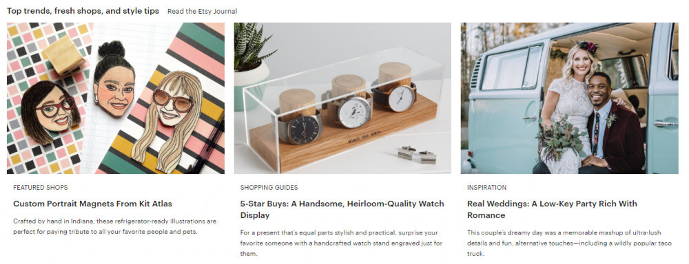 Product examples offered at Etsy