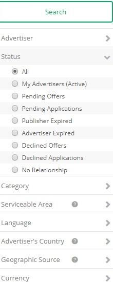 Choose a category at Cj Affiliate