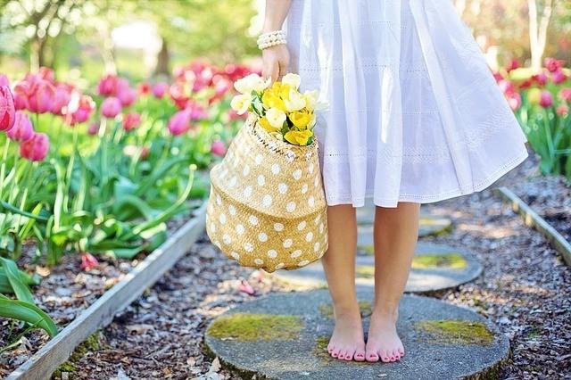 gathering flowers in spring