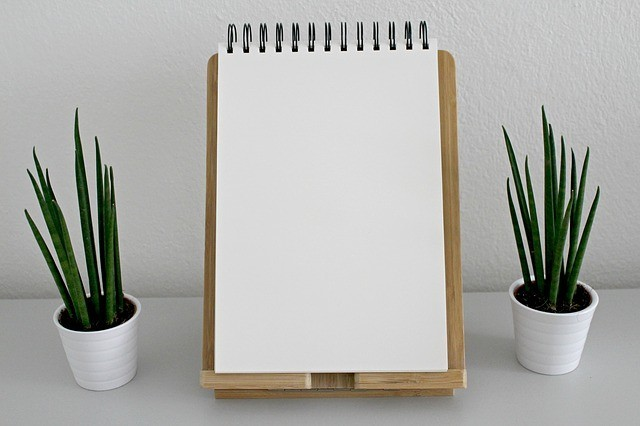 A notebook stands propped up on an easel between two plants