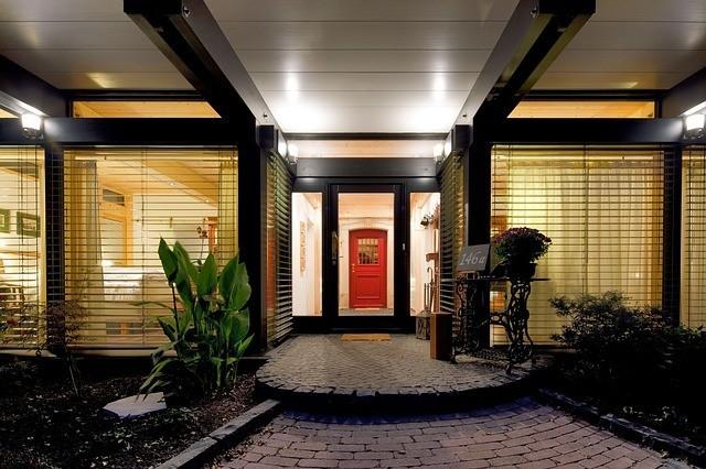 An inviting red door.