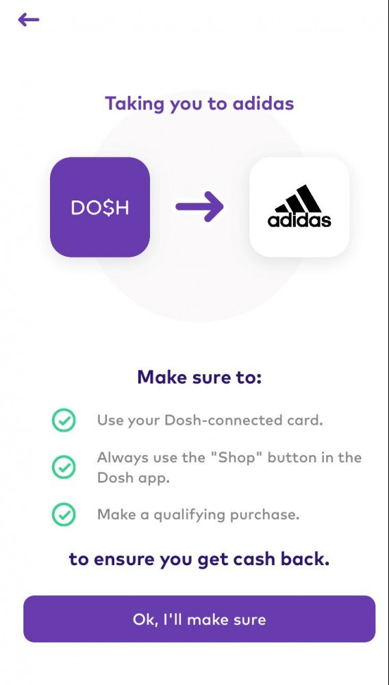 Taking dosh user to online store