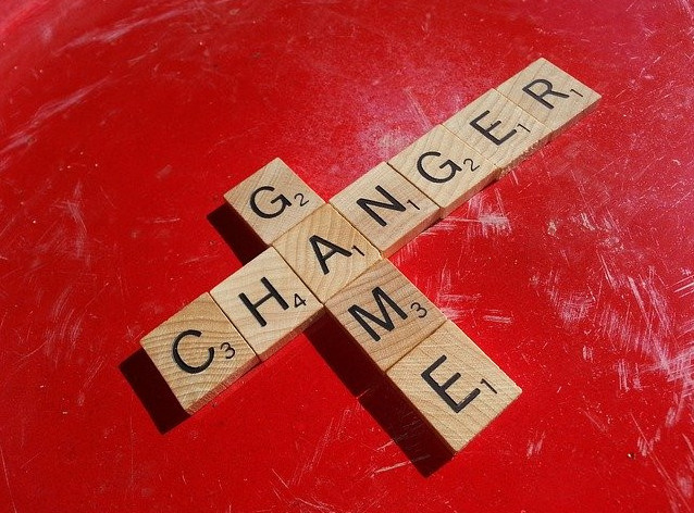 game changer spelled out in Scrabble letters