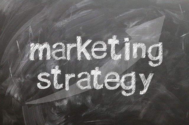 chalkboard with 'marketing strategy' written in chalk