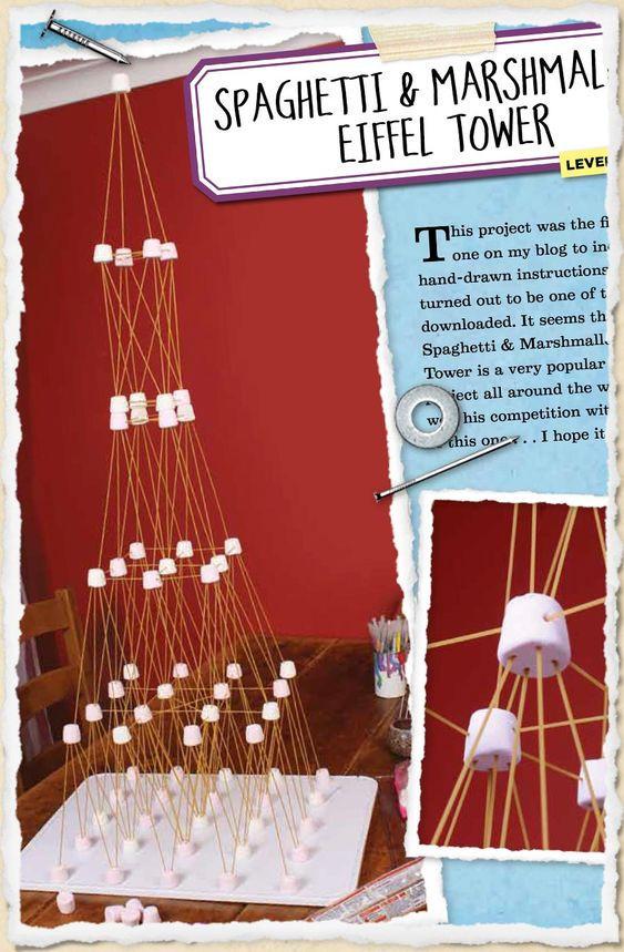 virtual trip around the world - eiffel tower with spaghetti and marshmallows