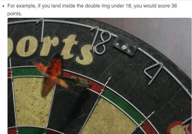 dartboard showing when to double 18