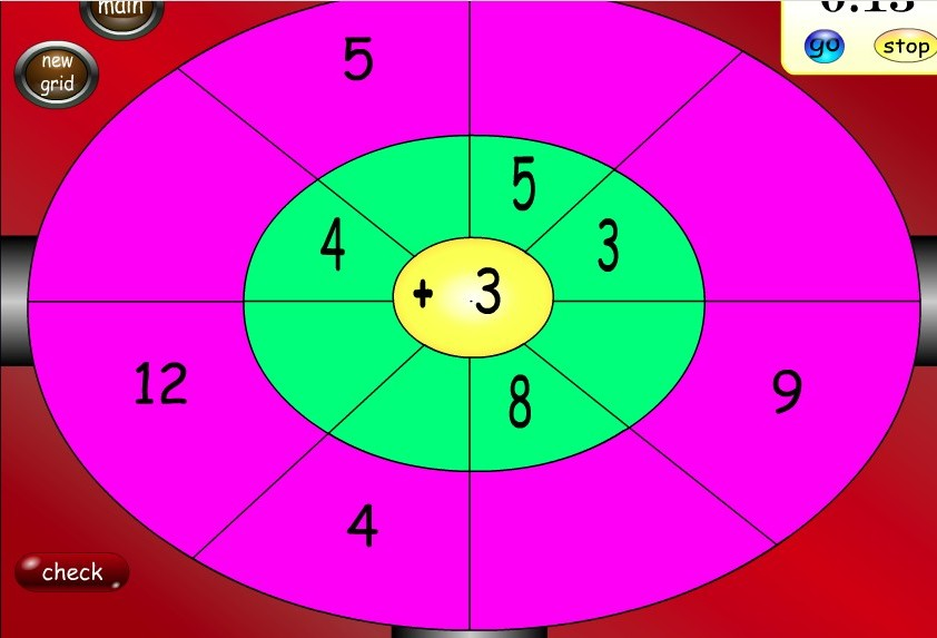 modified dartboard to practice math online