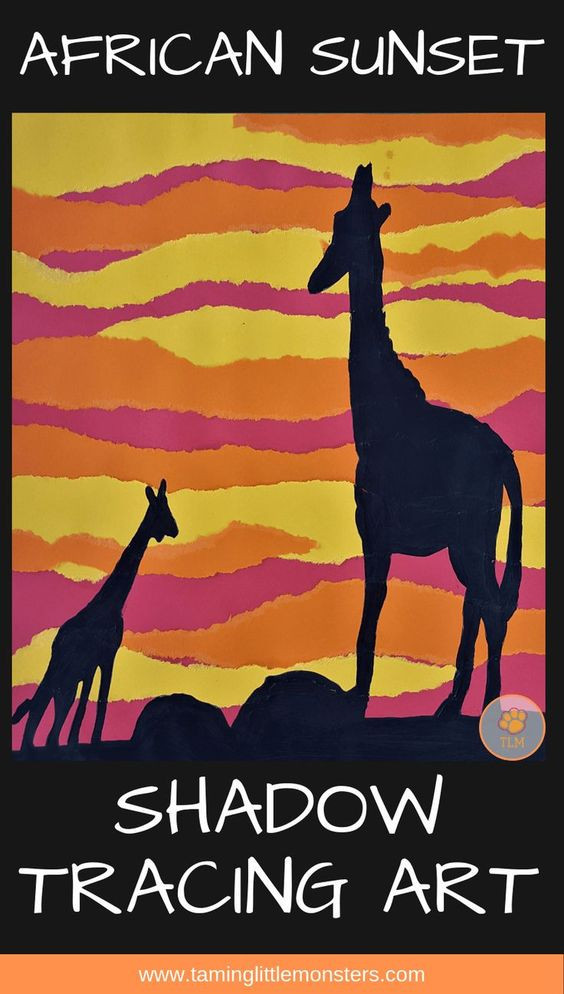virtual trip to africa for homeschoolers - African animal shadow tracing art