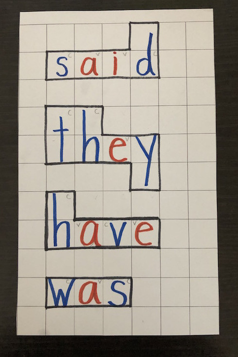 Read and spell sight words - graph paper spelling