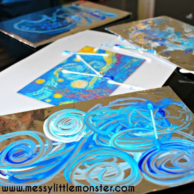virtual tour around europe for homeschoolers - foil painting of starry, starry night