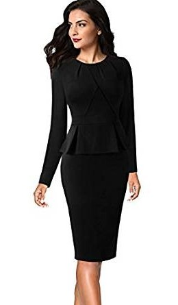 VFSHOW Womens Pleated Crew Neck Peplum Wear to Work Office Sheath Dress