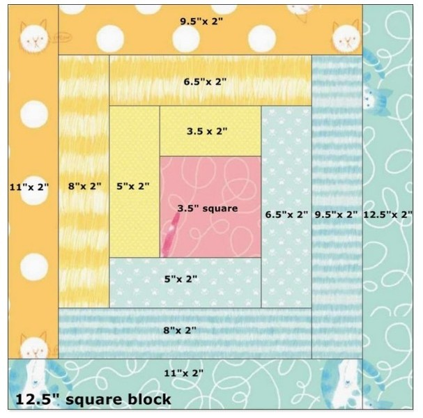 Sample pattern for a basic 12-inch log cabin quilt block