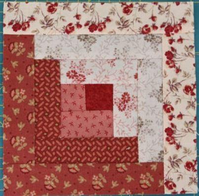Basic two tone log cabin quilt block
