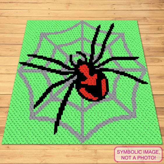 Crochet Spider Pattern - C2C blanket and Pillow pattern