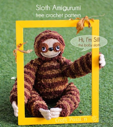 Craft Passion - Baby sloth amigurumi free crochet pattern