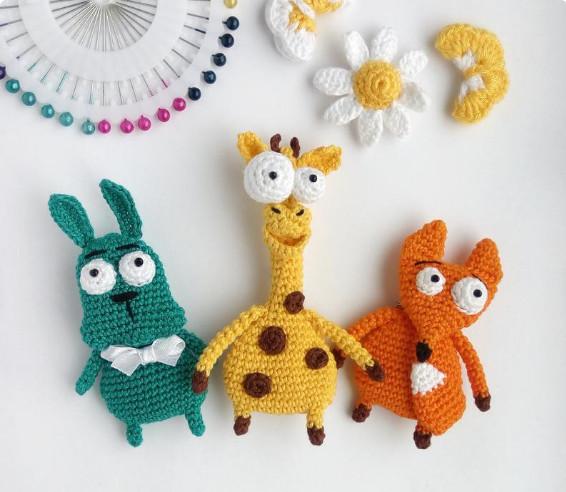 Crochet pattern bundle, giraffe brooch pattern, fox brooch pattern, rabbit brooch pattern