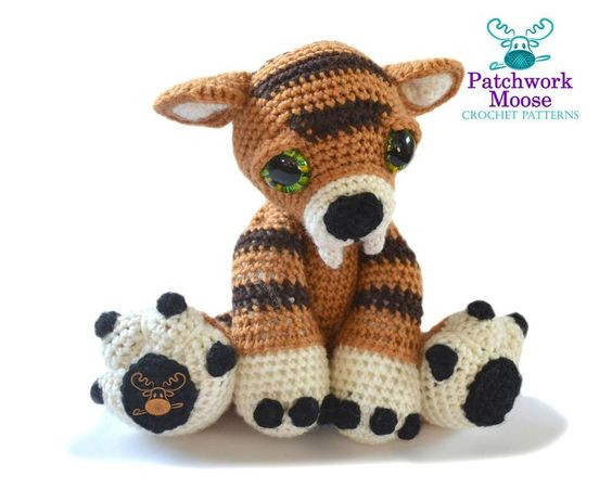 Sabre Tooth Tiger Crochet Pattern by PatchworkMoose