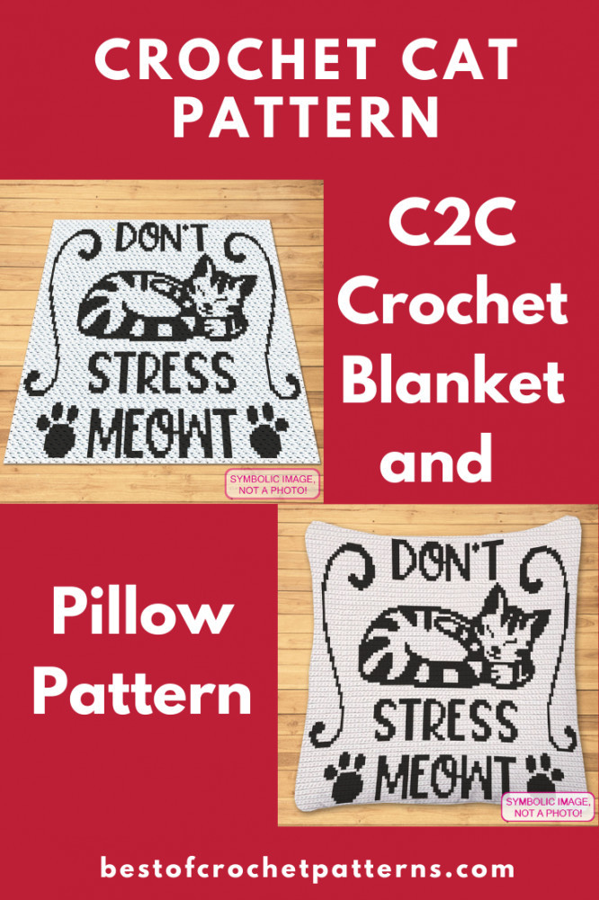 C2C Crochet Blanket Pattern and Pillow Pattern - Cat Lover Gift