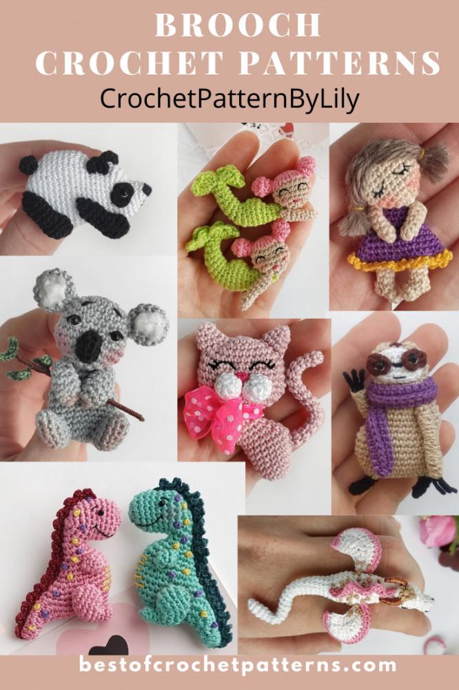 Crochet Brooch Patterns - CrochetPatternsByLily