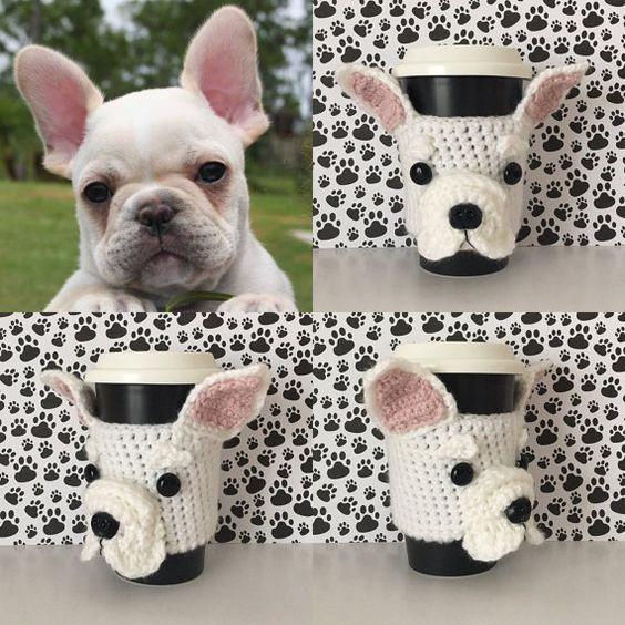 French Buldog Cup Cozy Crochet Pattern by HookedbyAngel