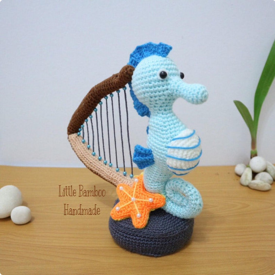 Seahorse with a harp Crochet Pattern by LittleBambooHandmade