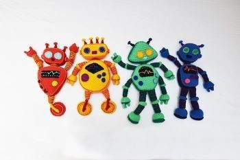 Rainbow robots Crochet Pattern
