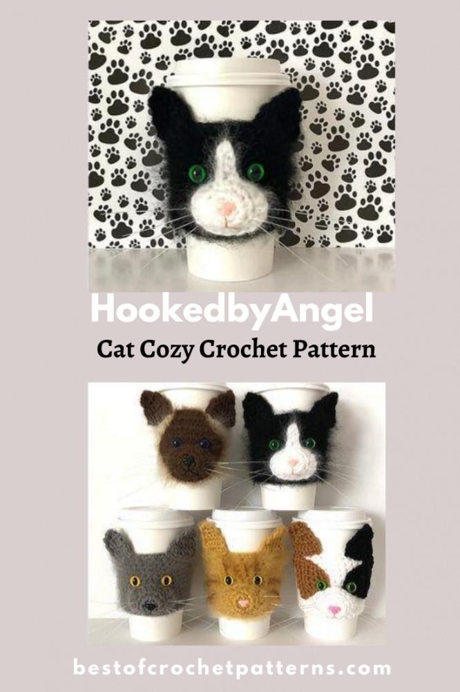 Cat Cup Cozy Crochet Pattern by HookedbyAngel