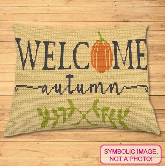 Welcome Autumn Crochet Pillow pattern
