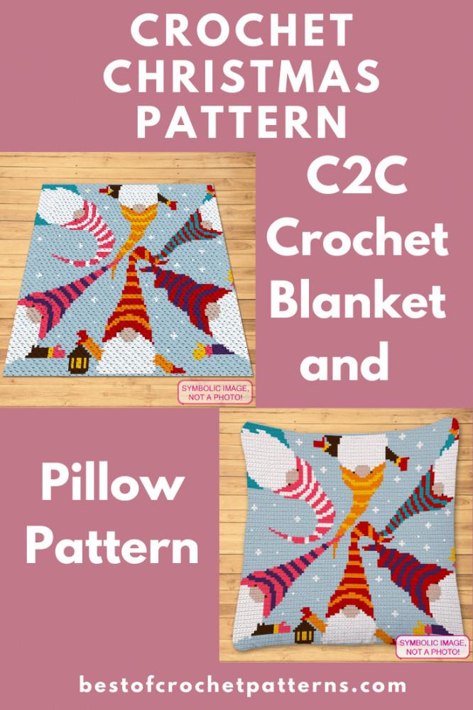 C2C Christmas Crochet Pattern - Crochet Gnome Blanket