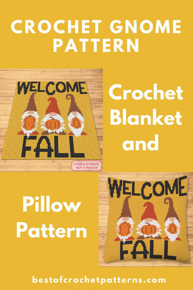 Crochet Gnome C2C blanket, and tapestry crochet pillow pattern