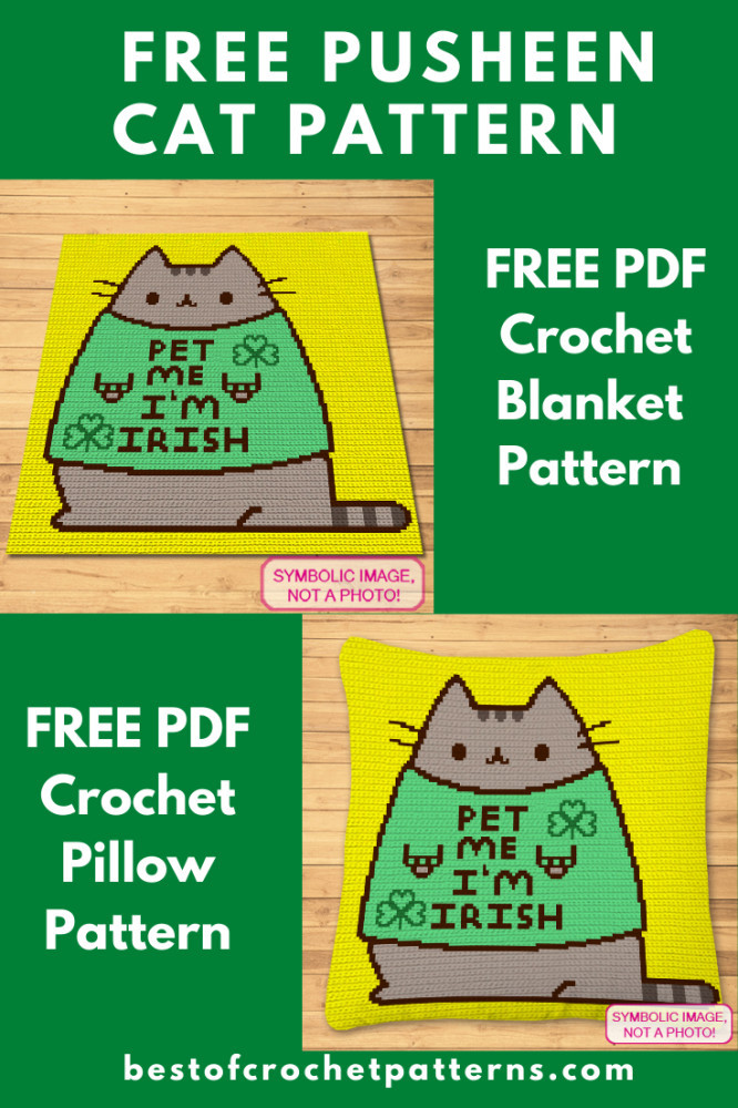 FREE Pusheen Cat Pattern - Free St. Patricks Day Pattern