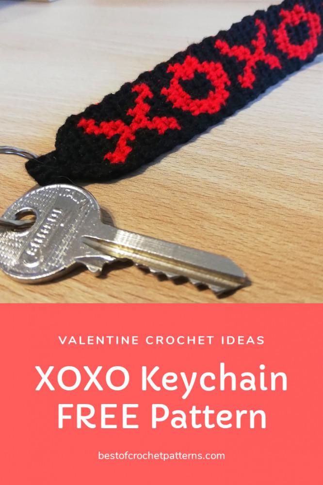 Valentine croceht ideas - XOXO keychain free pattern
