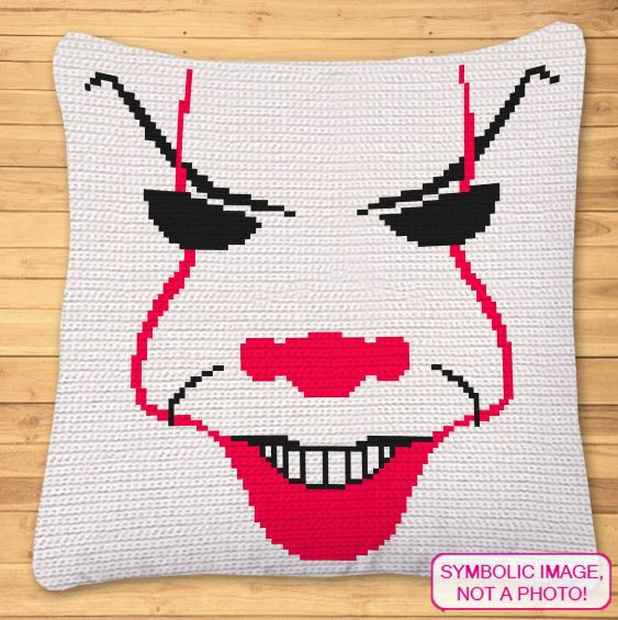 FREE Halloween Crochet Pattern - Scary Clown Pillow Pattern
