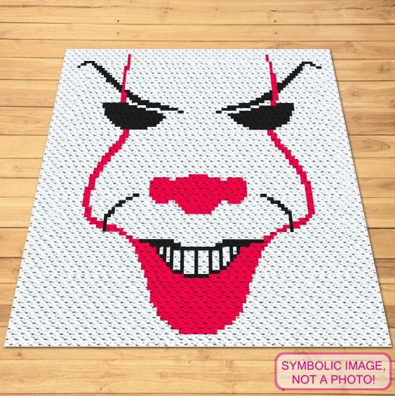 FREE Halloween Crochet Pattern - Scary Clown C2C Blanket