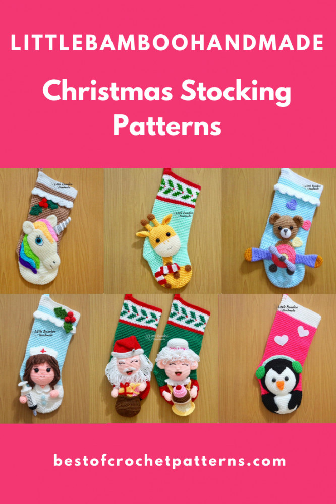 Christmas Stocking Crochet Patterns by LittleBambooHandmade