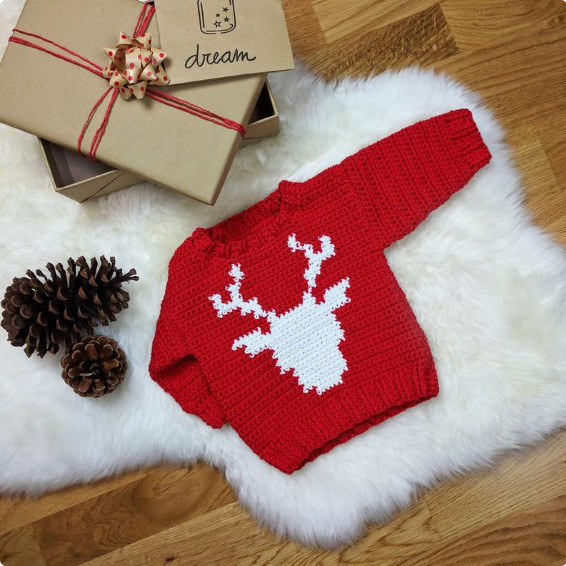 Crochet Baby Christmas Sweater - Croby Patterns