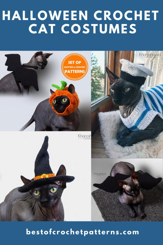 Haloween Crochet Pet Costumes - Crochet Cat Hat