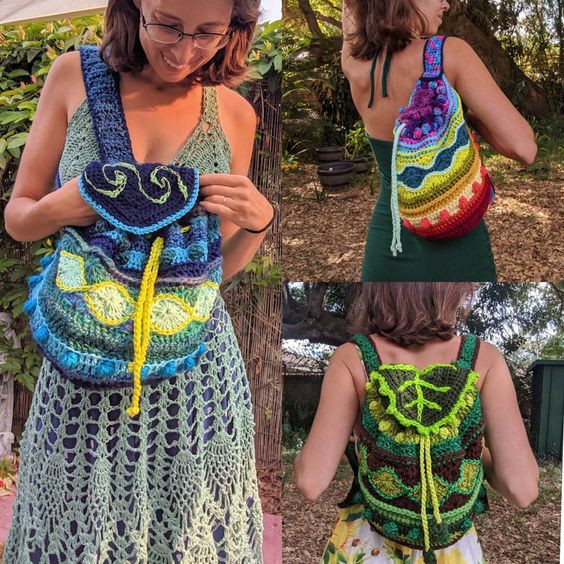 Drawstring bag crochet pattern by EarthTricks