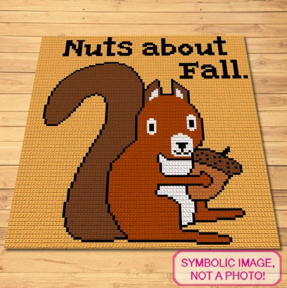 Nuts about Fall Crochet blanket and pillow pattern