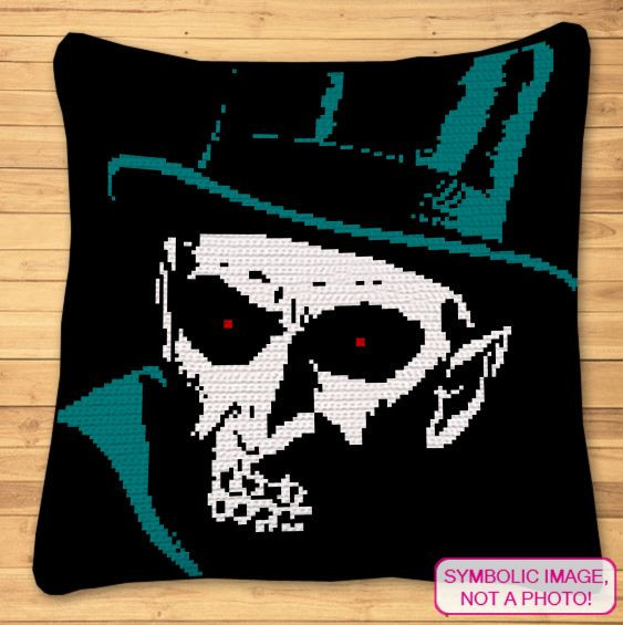 Creepy Halloween Crochet Pattern - Creepy Man Blanket and Pillow Pattern