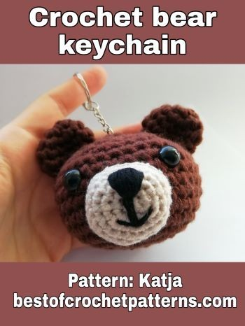 Crochet bear keychain