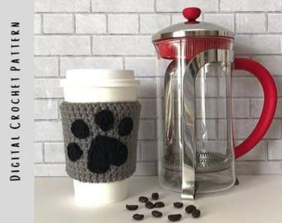 Paw Cup Cozy Crochet Pattern by HookedbyAngel